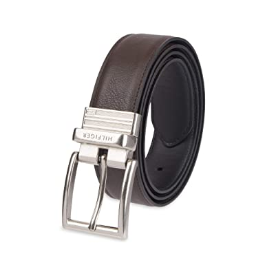 0d11b02d82 Tommy Hilfiger Reversible Leather Belt - Casual for Mens Jeans with Double  Sided Strap and Silver