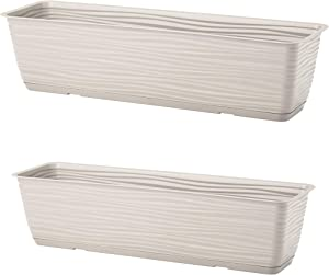 """United Frames and Products Michigan Dunes Planter Box, Herb Garden with Drip Tray, 23"""" 2 Pack (ADD-ON: Adjustable Hanging Rail Brackets) (Gray)"""