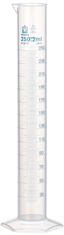 Neolab E-1614Cylindre gradué, forme de hauteur, 250ml/2ml, Polypropylène (PP), hexagonal Base