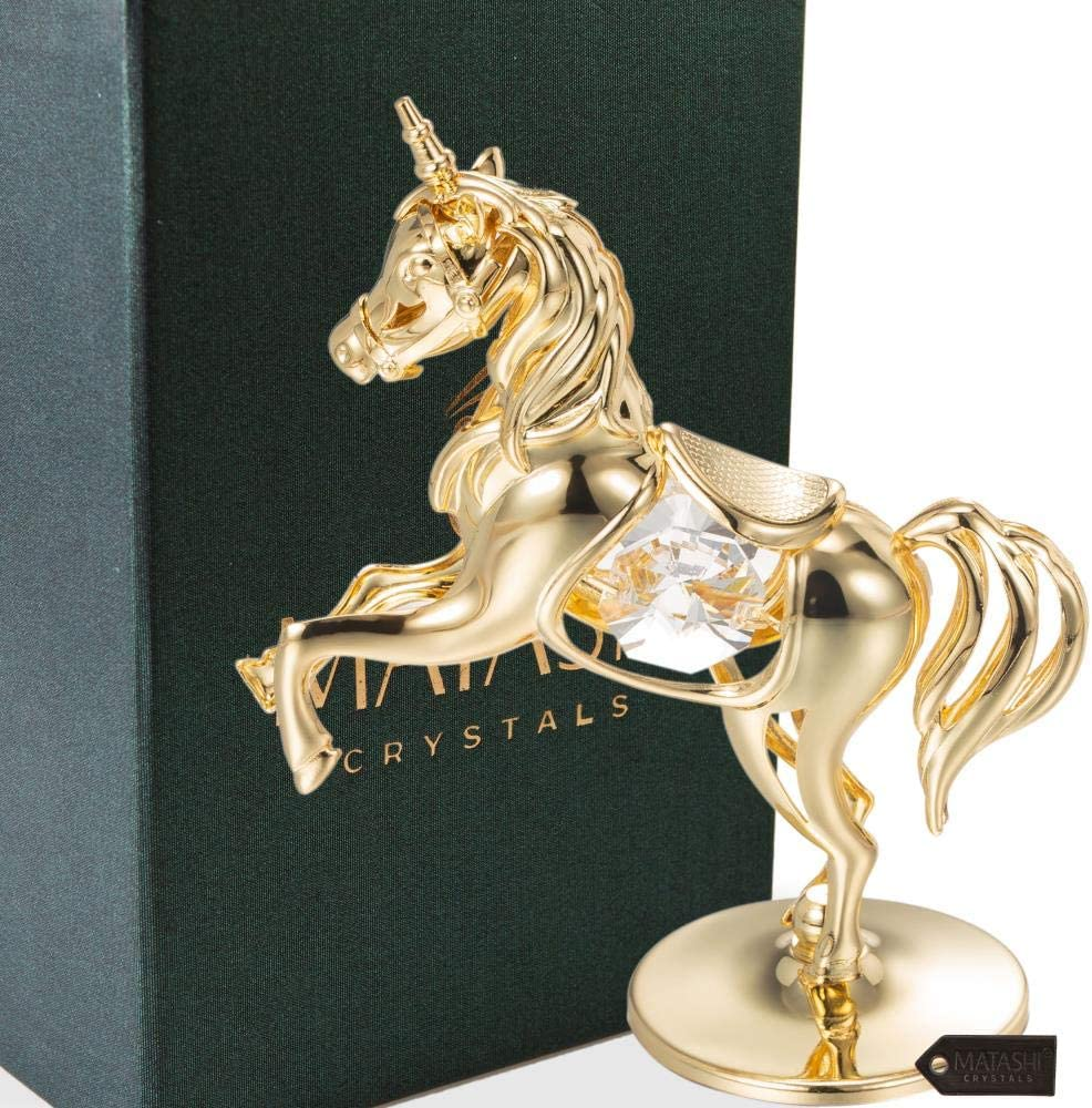 Matashi 24K Gold Plated Unicorn Ornament with Crystals Home Decor Tabletop Showpiece for Living Room Gift for Christmas Birthday New Year Holiday Mother's Day Anniversary Party Favor