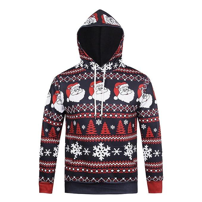 Fxbar,Ugly Christmas Mens Pullover Santa Printed Sweatshirt Men Casual Hoodies (Multicolor,M