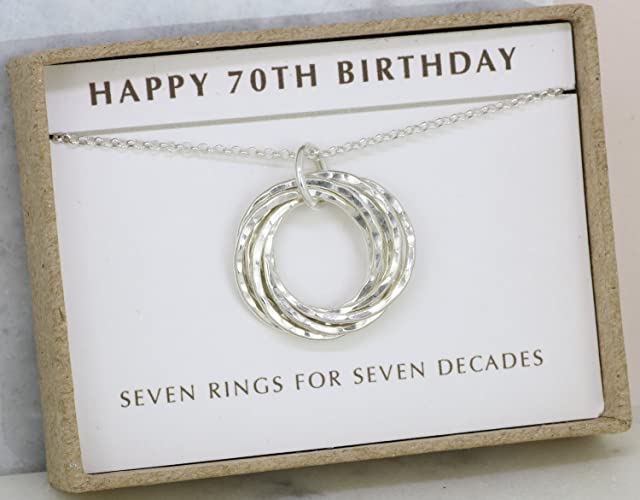 7cf273b8c Amazon.com: 70th birthday gift for mom necklace, 70th birthday necklace, 70th  gift grandmom - Lilia: Handmade