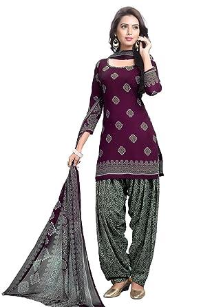 22f6f40003 Raghavjee Sarees women's printed unstitched Patiala crepe dress ...