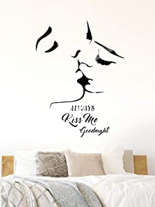 Zonon 3D Kiss Wall Mural and Always Kiss Me Goodnight Stick Decals for Living Room Bedroom Sofa Backdrop TV Wall Background DIY Decorations
