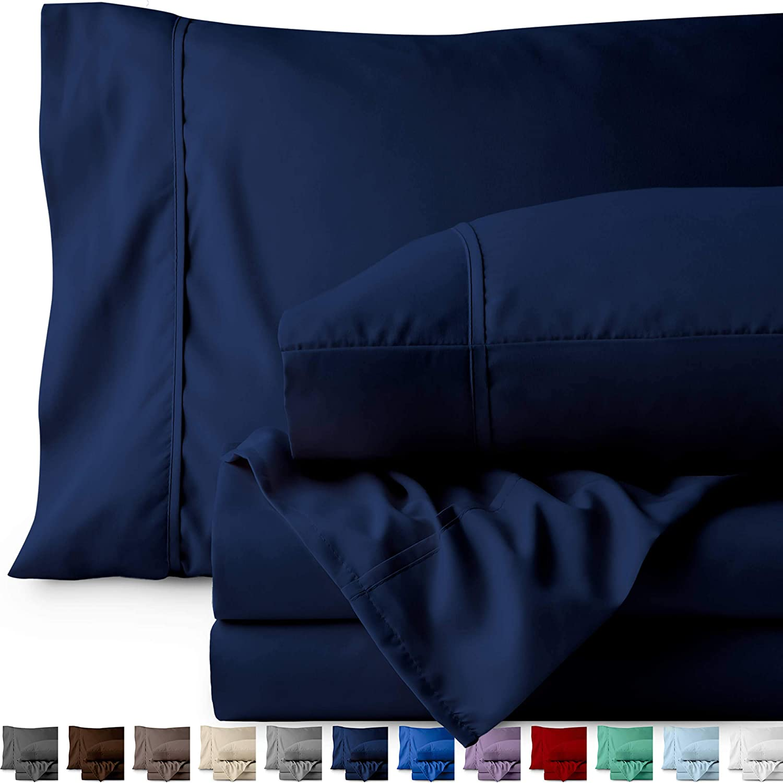 Bare Home Full XL Sheet Set - Kids Size - Premium 1800 Ultra-Soft Microfiber Sheets Full Extra Long - Double Brushed - Hypoallergenic - Wrinkle Resistant (Full XL, Dark Blue)