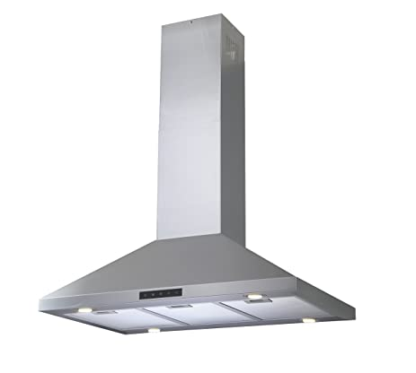 Kitchen Bath Collection C90 LED Stainless Steel Island Mounted Kitchen  Range Hood With High End
