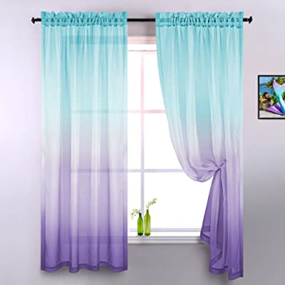 Buy Lilac And Turquoise Curtains For Bedroom Girls Room Decor Set Of 2 Panels Ombre Patterned Window Semi Sheer Curtains For Living Room Kids Nursery Mermaid Themed Green And Purple 52 X