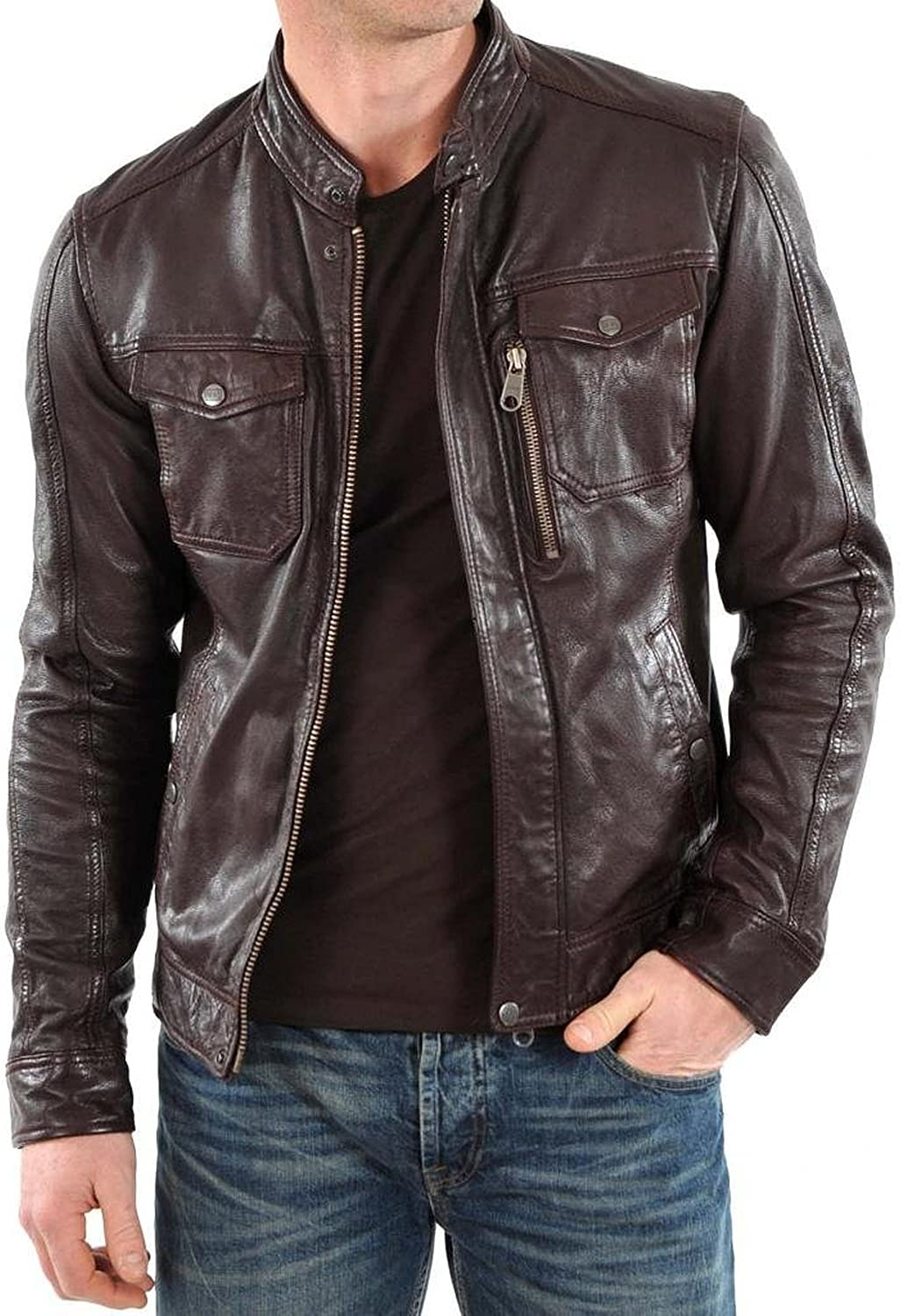 New Mens Genuine Lambskin Leather Slim Fit Biker Motorcycle Jacket for Men T459