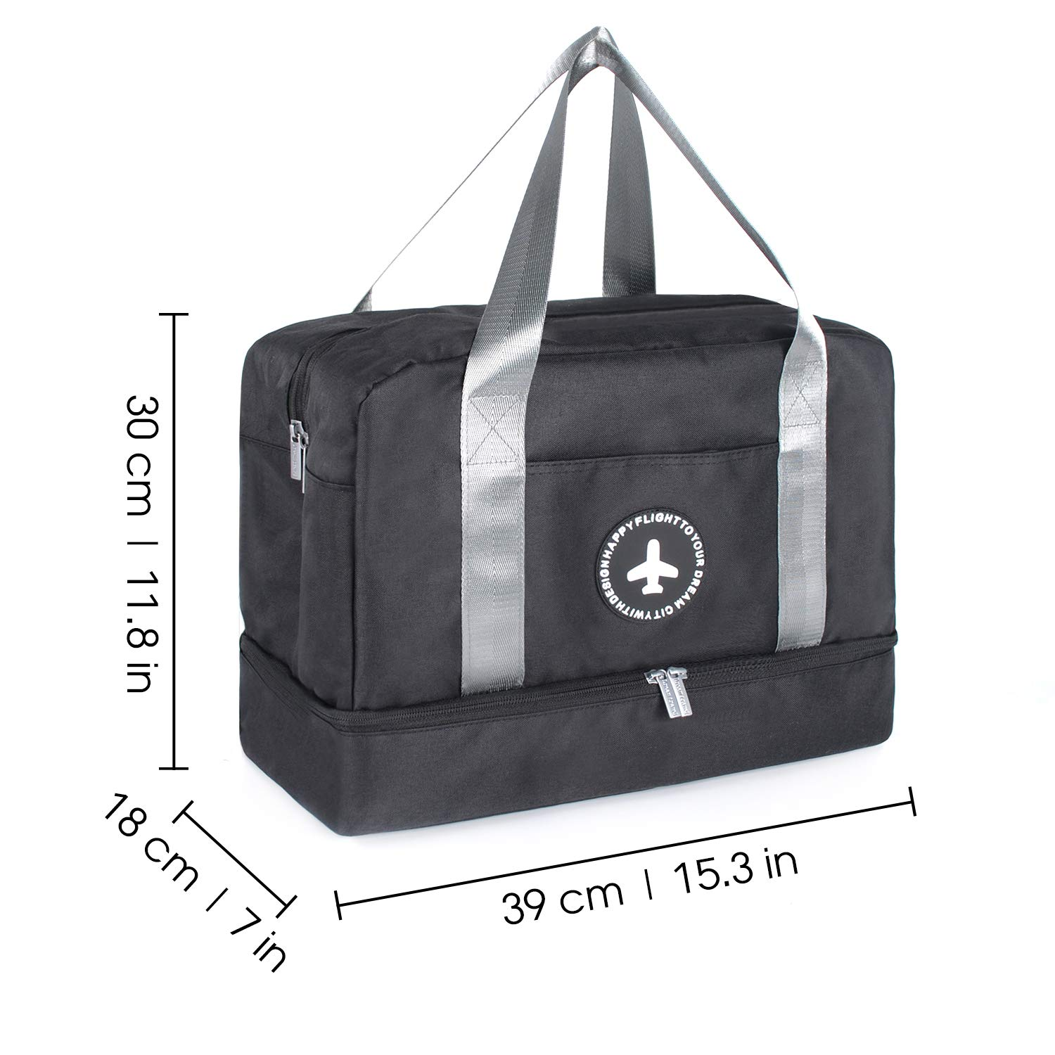 Duffle Bag Gym Tote Swim Bag with Wet Pocket and Shoes Compartment