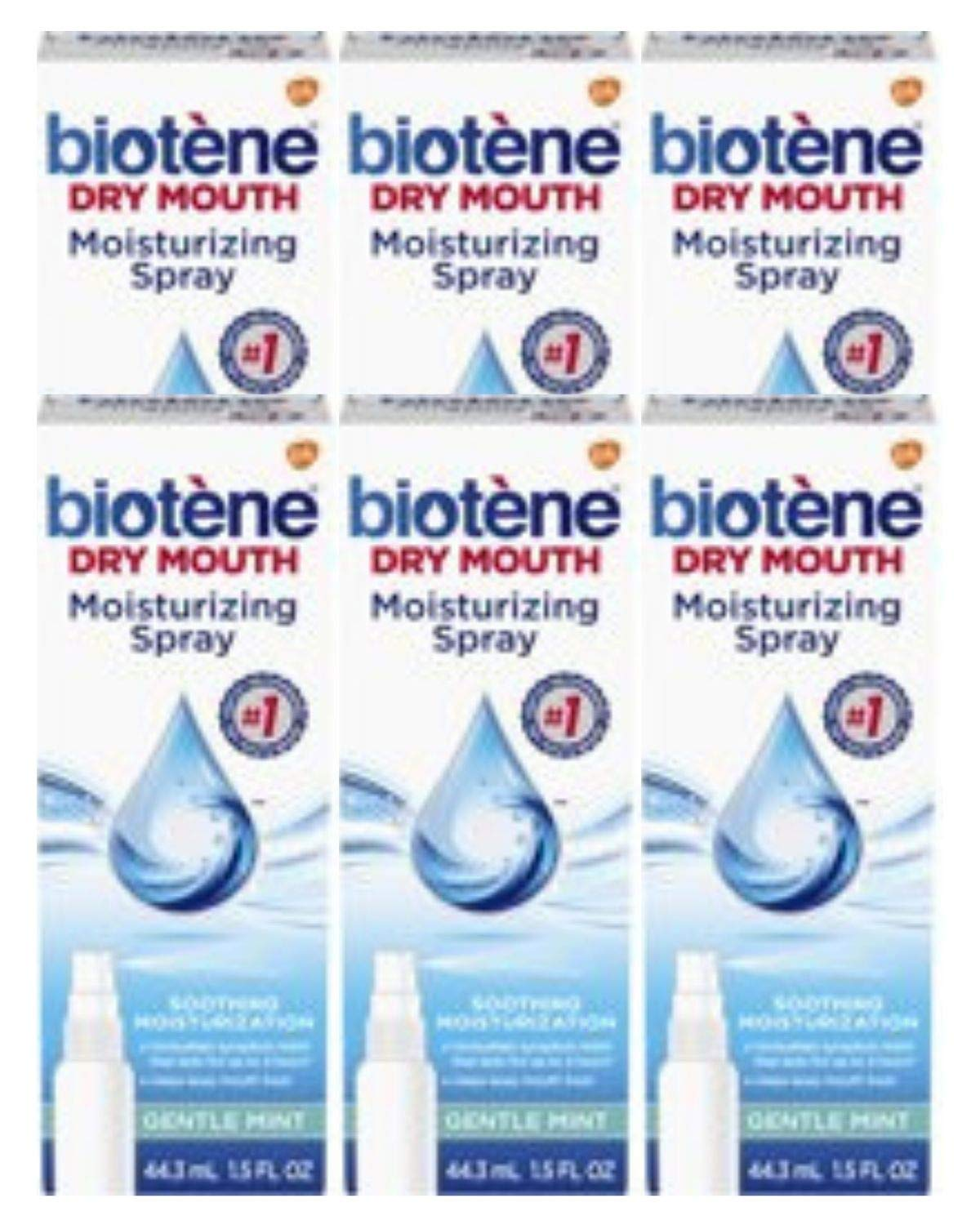 Biotene Gentle Mint Moisturizing Mouth Spray, Sugar-Free, for Dry Mouth and Fresh Breath, 1.5 Ounce (Pack of 6)
