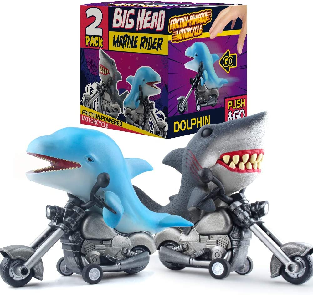DINOBROS Shark Toy Car 2 Pack Friction Powered Motorcycle Monster Sea Animal Game Great White Shark and Dolphin Toys