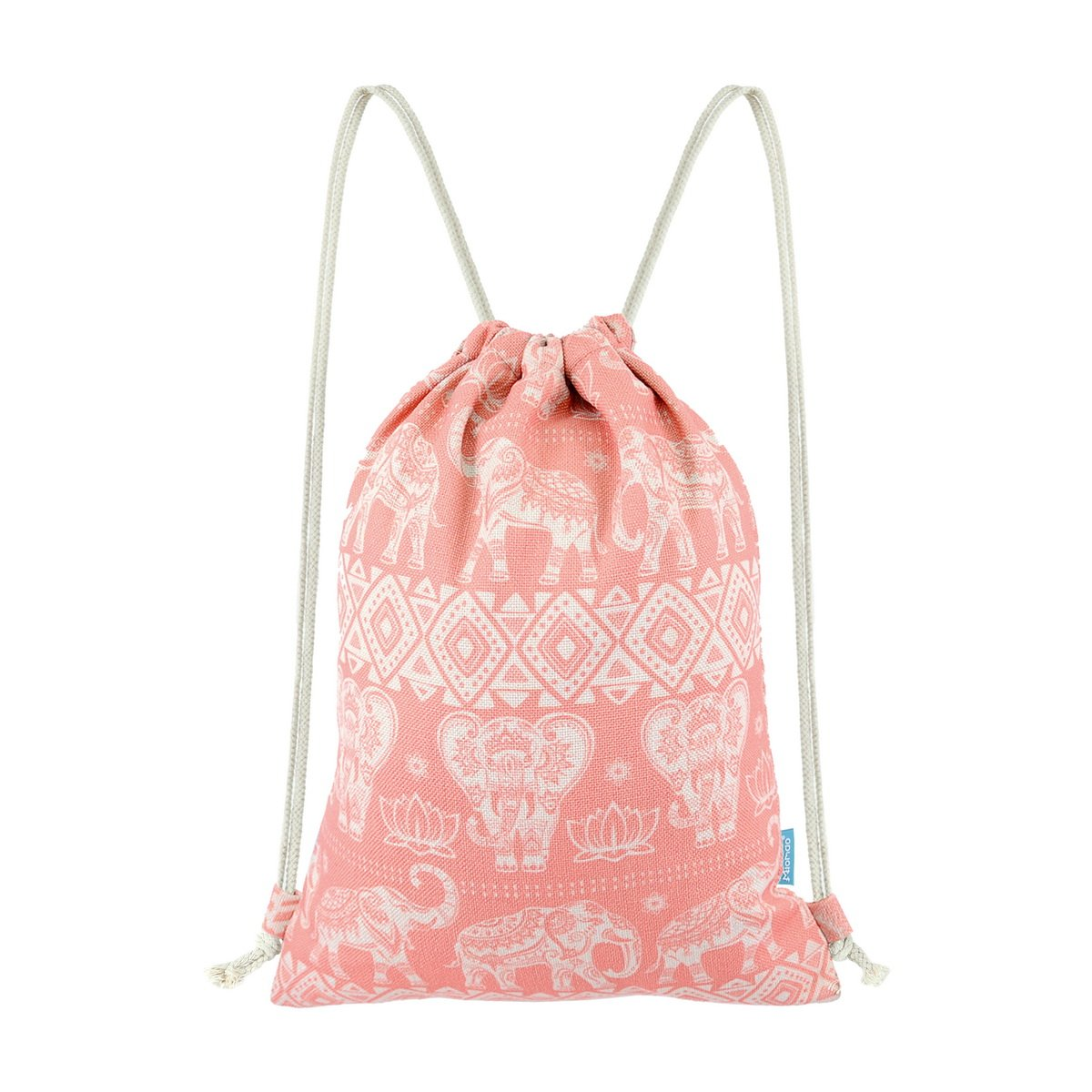 Miomao Gym Sackpack Drawstring Backpack Elephant Cinch Pack Geometric Sinch Sack With Pockets Sport String Bag Yoga Daypack Beach Gift Bag For Men & Women 13 X 18 Inches Coral Pink