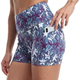 RAYPOSE Workout High Waist Yoga Print Shorts for Women Exercise Running Gym Bike Short Side Pockets 3""