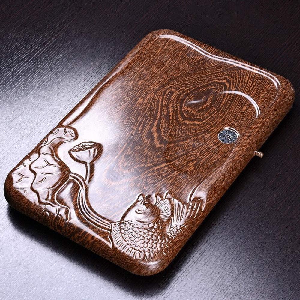 中国茶トレイ 中国のGongfu茶表プレート茶道アクセサリーを彫刻トレイアート魚をサービングホームオフィスティー 中国のカンフーティーテーブル (Color : Natural, Size : 54x34x4cm)
