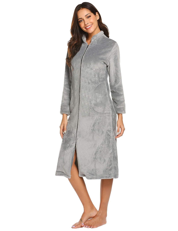 Ekouaer Womens Zip-Front Flannel Robe c6bef286c4
