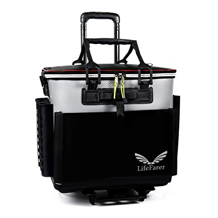 LifeFarer Waterproof Fishing Tackle Bag with Separated Inner Bag for Fish or Gear and Rod Holder 3 Ways Carrying Including Roller Wheels Trolley Saltwater Freshwater Outdoor Sports Tackling Game