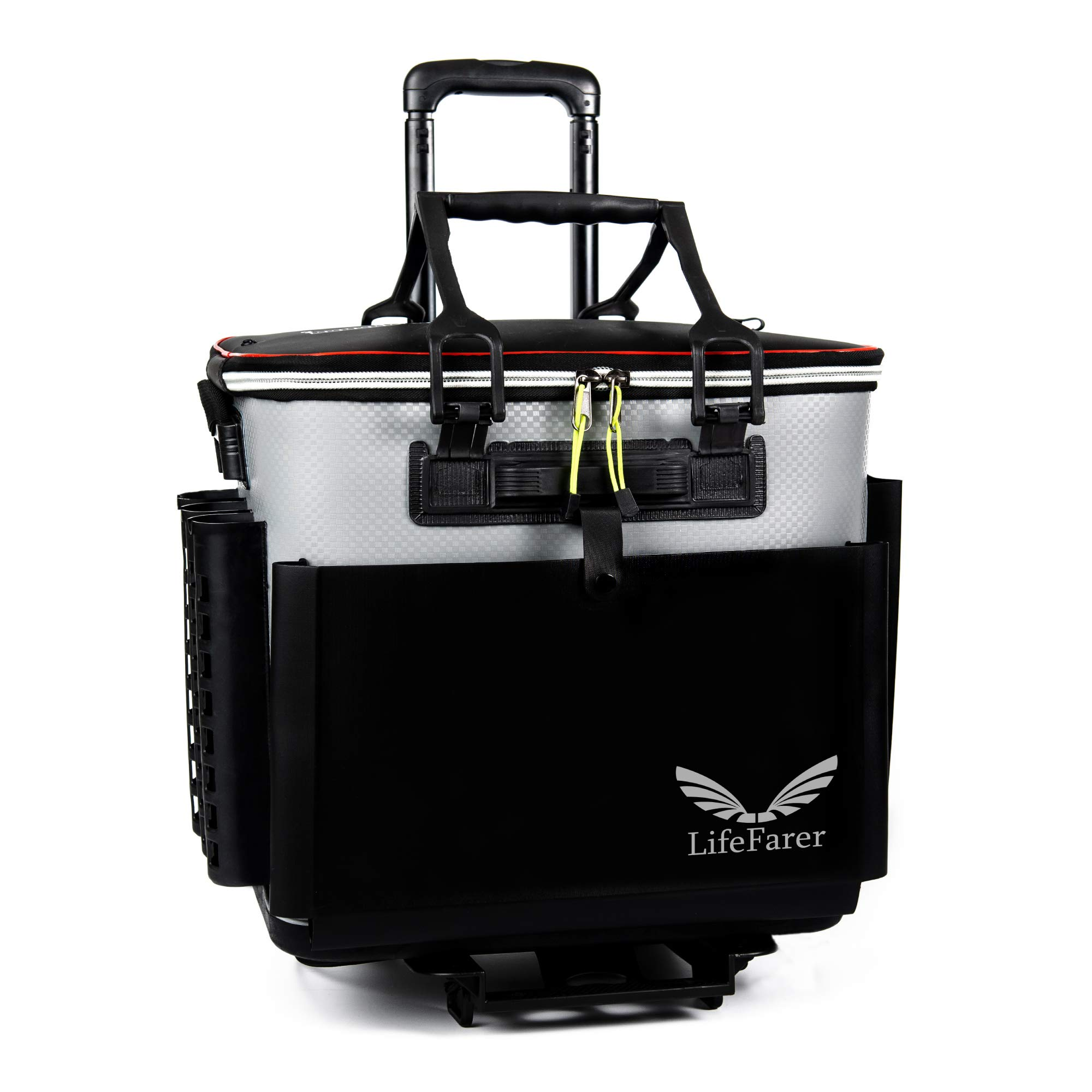 LifeFarer Waterproof Fishing Tackle Bag with Separated Inner Bag for Fish or Gear and Rod Holder - 3 Ways Carrying Including Roller Wheels Trolley - Saltwater Freshwater Outdoor Sports Tackling Game