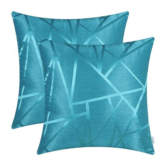 CaliTime - Juego de 2 fundas de almohada para sofá, de decoración para el hogar con un diseño moderno de motivos triangulares geométricos que ...