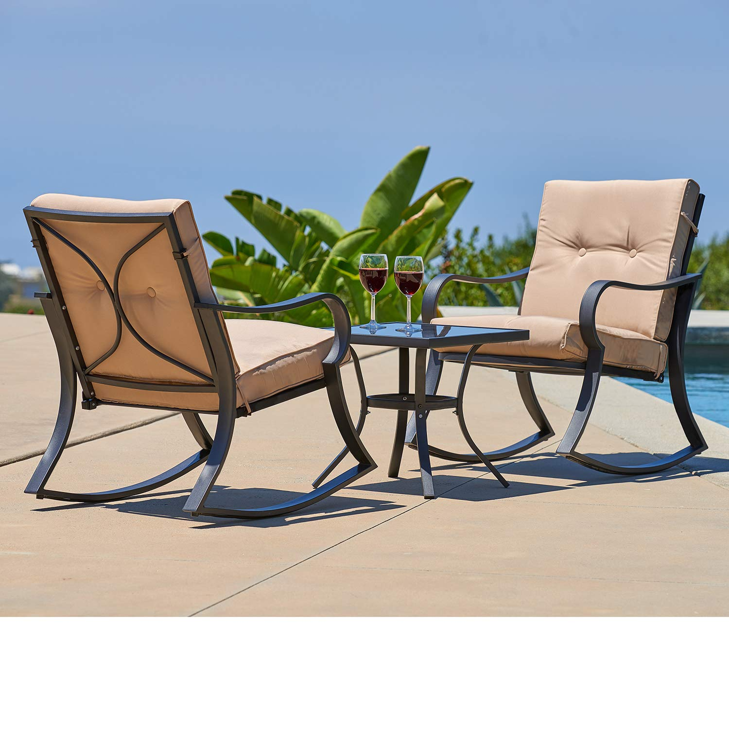 Oakmont Outdoor Furniture 3 Piece Bistro Set Rocking Chairs and Glass Top Table, Thick Cushions, Black Steel