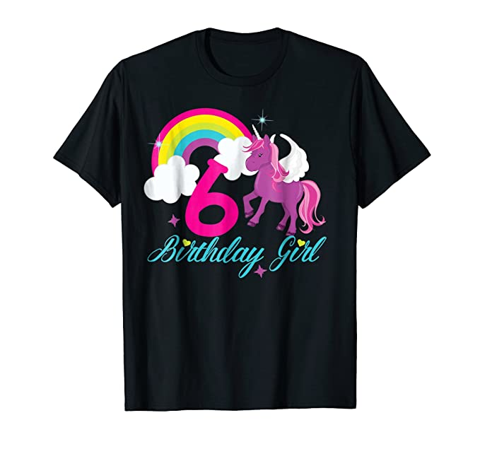 Mens Rainbow Happy Birthday Unicorn Shirt 6th Tee 2XL Black