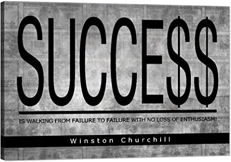 Amazon Com Success Inspirational Wall Art Motivational Entrepreneur Quotes Canvas Painting Winston Churchill Pictures Inspiring Successful Hustle Posters Prints Artwork Decorations For Home Office 12 Hx18 W Posters Prints