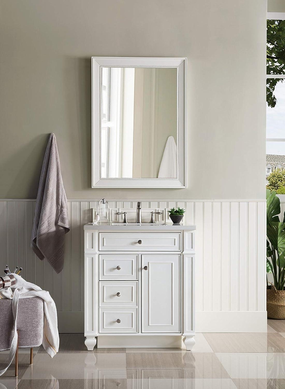 Bristol 30 Single Vanity White Washed Walnut With 3 Cm Grey Expo Quartz Top W Sink Amazon Com