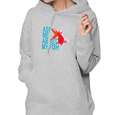 Ask Me About My Fish Hoodie Pullover Sweatshirt with Pockets for Womens