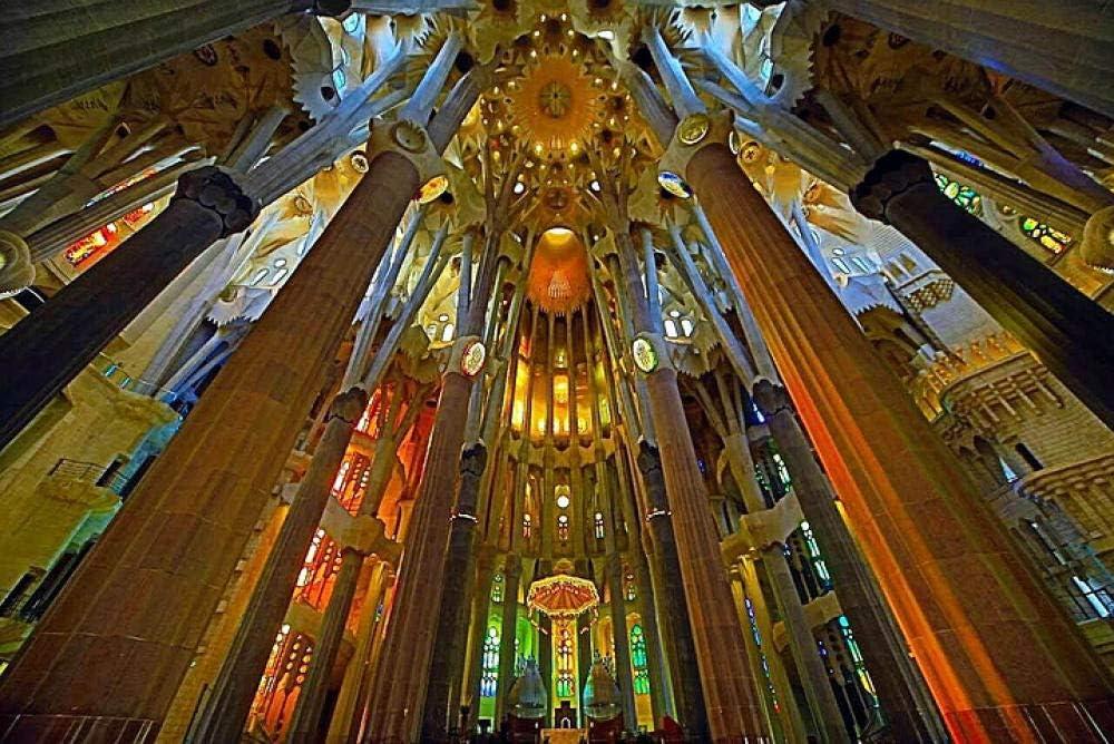 Pintar por Numeros para Adultos Niños -DIY Pintura por Números con Pinceles y Pinturas Decoraciones para el Hogar -Navidad Regalo -Catedral de la Familia de Cámara de Barcelona -40x50cm
