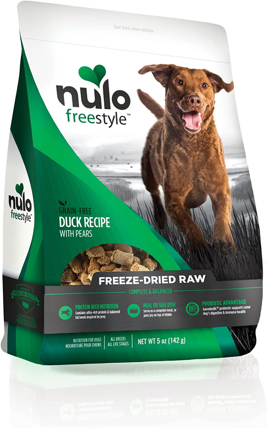 Nulo Freeze Dried Raw Dog Food For All Ages & Breeds: Natural Grain Free Formula With Ganedenbc30 Probiotics For Digestive & Immune Health - Duck Recipe With Pears - 5 Oz Bag