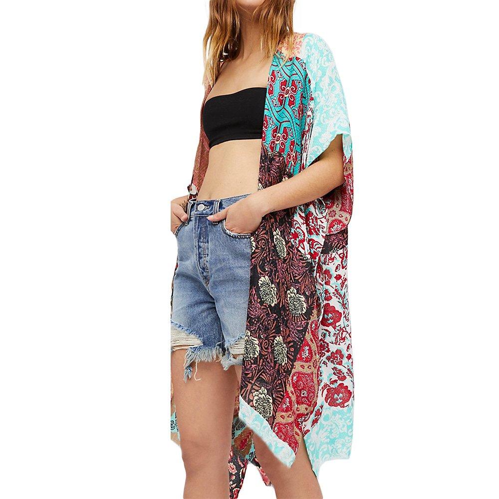 LULENQ Womens Beach Wear Cardigan Cover up Swimwear Beachwear Bikini Plus Size (Green)