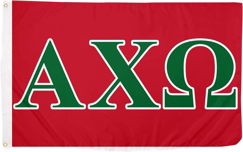 Alpha Chi Omega Letter Sorority Flag Greek Banner Large 3 feet x 5 feet Sign Decor AXO