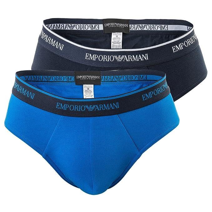 EMPORIO ARMANI Pack de 2 calzoncillos para hombres, ropa interior, sólida, S-