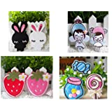 Set of 9 pcs FABRIC Little angle Strawberry Candy Cartoon Rabbit IRON-ON BEAD BABY KID CLOTHES DIY CRAFT APPLIQUE TRANSFER PATCH