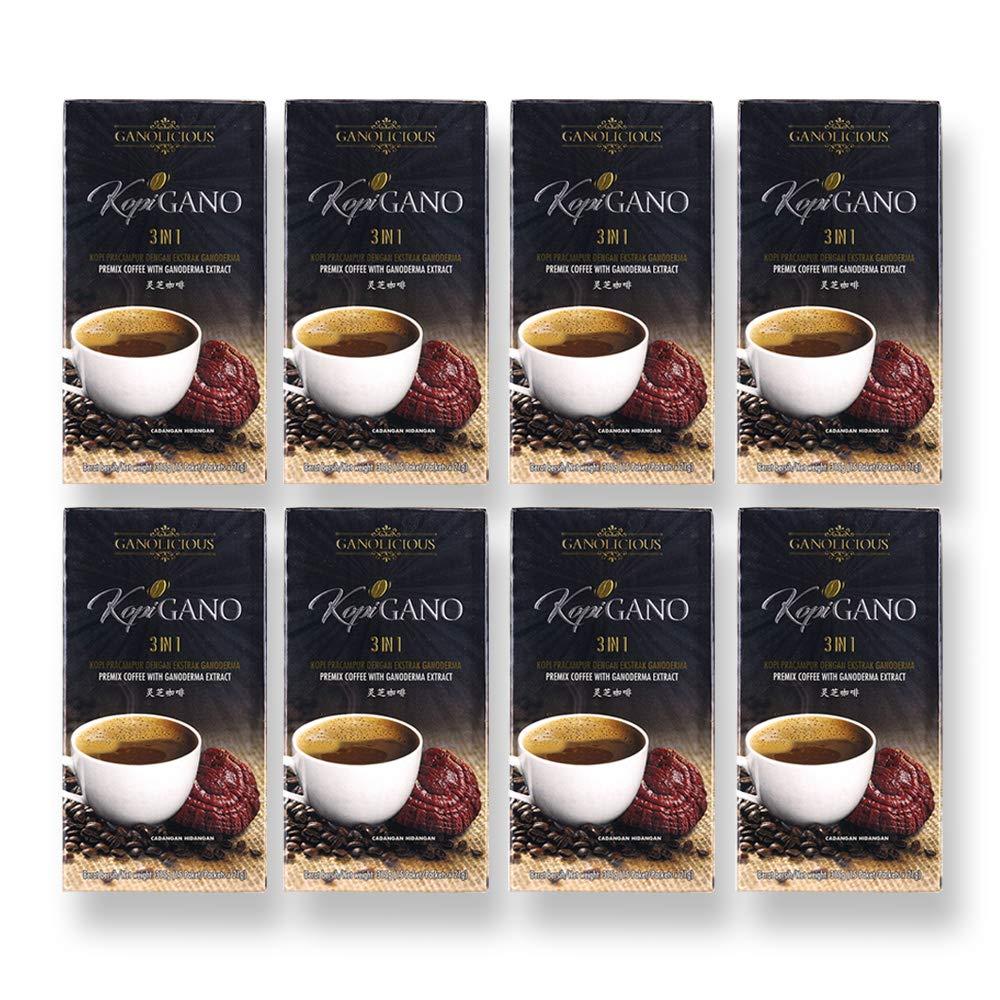 Ganolicious KopiGano 3-in-1 Ganoderma Lucidum - Healthier Coffee and Healthier Life - 8-Box 120-Sachets (Exp: May 2022)