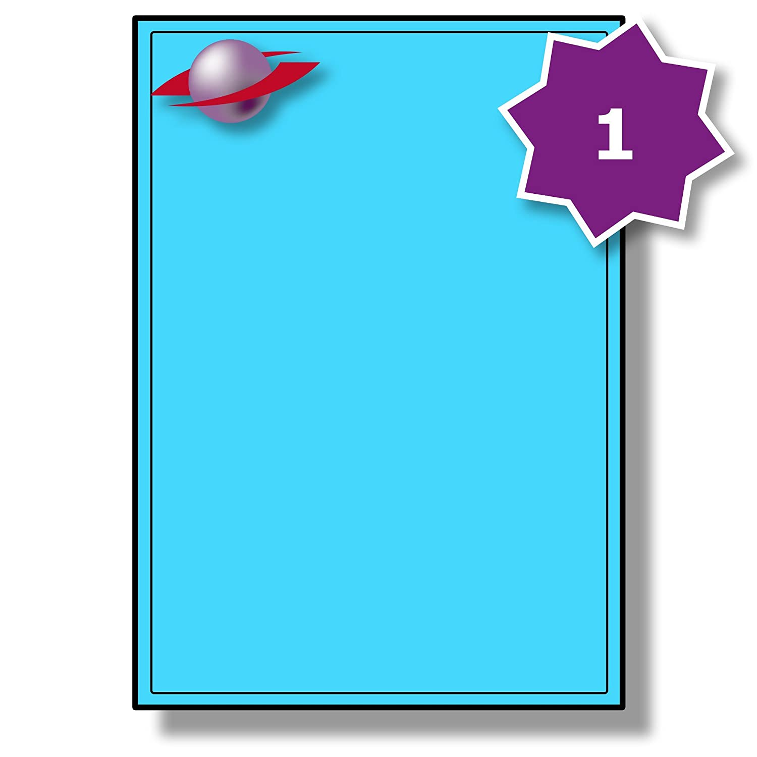 1 Per Page/Sheet, 25 Sheets (25 Sticky YELLOW Labels), Label Planet® Blank Plain Matt Paper Self-Adhesive A4 Coloured Multi-Purpose Paper Stickers, Printable With Laser/Copier or Inkjet Printers, UK LP1/199C, 199.6 x 289.1 MM, FOR JAM FREE PRINTING