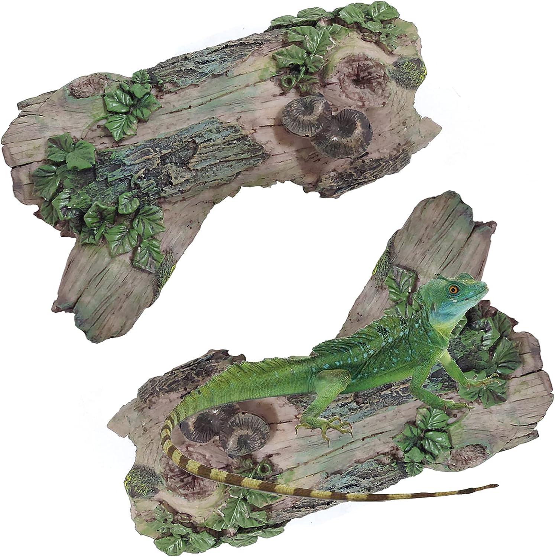 Tfwadmx Reptile Log Hideaway, Resin Wood Aquarium Decorations Decaying Trunk, Reptile Hideout Hut Habitat Cave Decor Bark Bend for Bearded Dragon Lizard Frog Crested Gecko Snake Spider Fish Shrimp