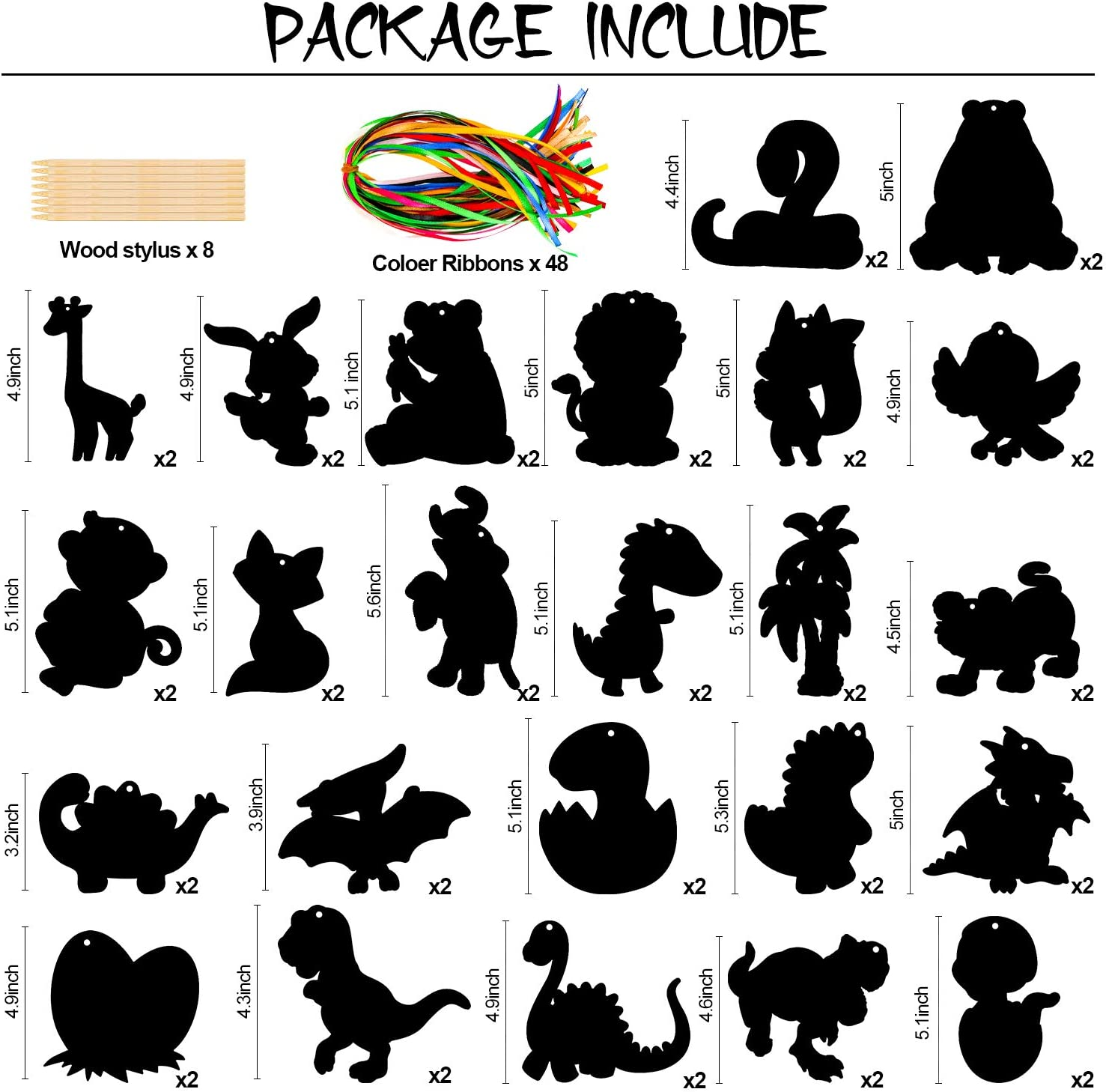 Konsait 48Pack Scratch Paper Art Set,Rainbow Magic Scratch Off Arts Crafts Supplies Dinosaur Animal Kits for Kids Teens Classroom Gifts Birthday Game Halloween Christmas Easter Valentine Party Favor