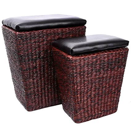 Eshow Ottoman Rattan Ottoman With Storage Hassocks And Ottomans Foot Rest  Pouf Ottoman Foot Stools Cube