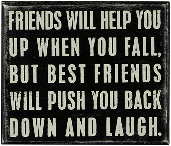 """Primitives by Kathy Classic Box Sign, 7"""" x 6"""", Friends Will Help You"""