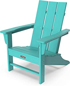 SERWALL Adirondack Chair with Flat Back Contemporary Patio Chairs Lawn Chair Outdoor Chairs Painted Weather Resistant- Aruba Blue