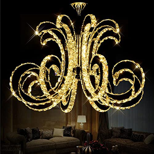 Getop D30.7 Inch X H19.68 Inch Modern Luxury LED Crystal Chandelier Art Lustre LED Chip Design Ceiling Light Fixture Warm White