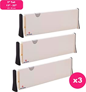 RAPTUROUS 3 Pack Drawer Dividers – 5 Inch Tall and Expandable from 13-22 Inches, Dresser Drawer Organizers – Adjustable Drawer Organization Separators for Kitchen, Bedroom, Bathroom and Office Drawers
