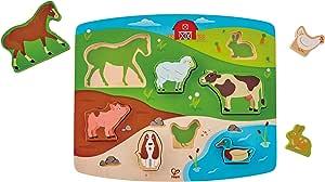 Hape HAP-E1454 Farm Animal Puzzle & Play, Multi-Colour, 5'' x 2''