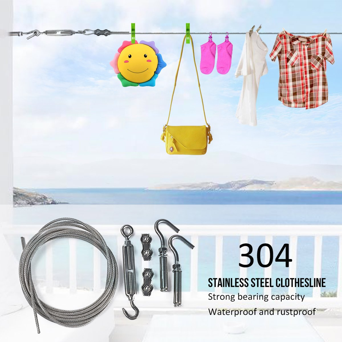 DEWEL Clotheslines 20ft/ 6m Portable Windproof Clothes Rope Line with Stainless Steel Cable Retractable System Heavy Duty Laundry Rope for Outdoor/ Indoor/ Home /Travel/ Drying (20Ft)