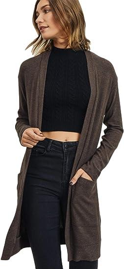 Womens Ladies Long Sleeve 5 Button Plain Boyfriend Cardigan With Pockets »
