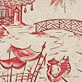 Pagodas Coral Oriental Toile King Duvet Cover with Pagodas Coral Reverse