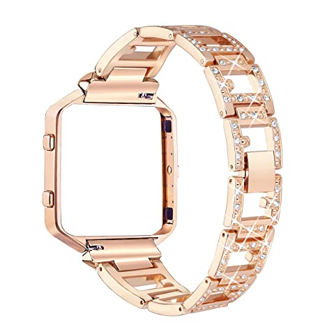 gold champagne fitbit steel blaze with women bling for stainless diamond straps replacement bands frame accessory rhinestone bayite