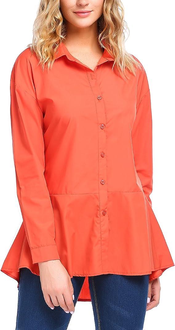Zeagoo Women's Loose Ruffle Hem Peplum Long Sleeve Blouse Top