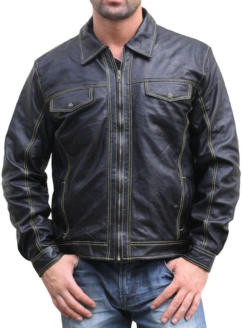 Bangla 1036 Sportliche Lederjacke aus Lammnappa schwarz XXXL