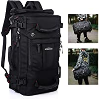 Overmont Hiking Backpack Daypack Canvas Travel Backpack Vintage Laptop Backpack Rucksack Large Capacity Hiking Shoulder Bag Suitcase Duffle Bag
